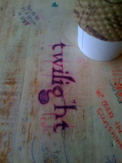 Twilight Graffiti at Sacred Grounds Coffee Shop shows an example of self-generated viral marketing